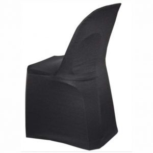 Plastic chair with stretch cover for hire