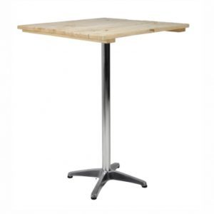 wood top cocktail table hire